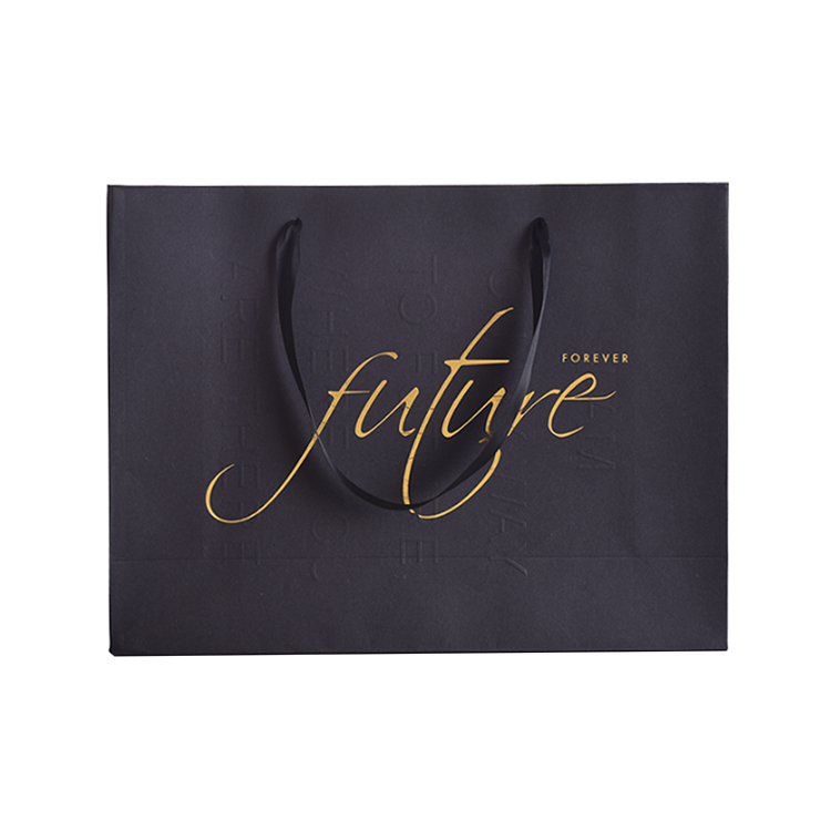 Wholesale Luxury Cheap Black Hot Stamping Logo Apparel Packaging Shopping Bag Paper Bag