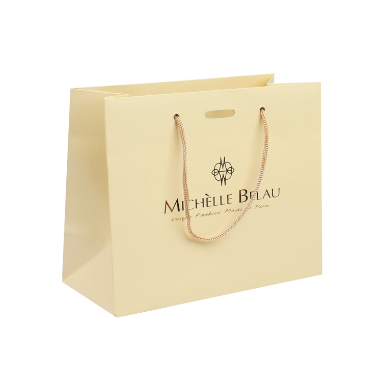 Custom Logo Color Printed Handled Shopping Packaging Gold Paper Gift Bags With Ribbon