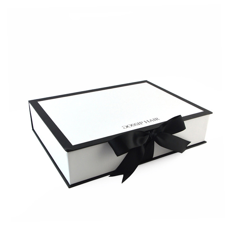 Factory Wholesale Magnetic Luxury Custom Folding Gift Box Packaging With Silk Ribbon For Hair Extension