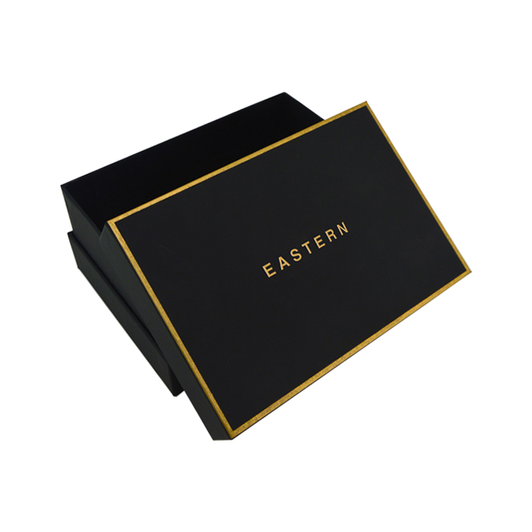 Custom Lid And Base Shoulder Rigid Cardboard Paper Packaging Gift Box For Man Wallet With Gold Foiled Logo