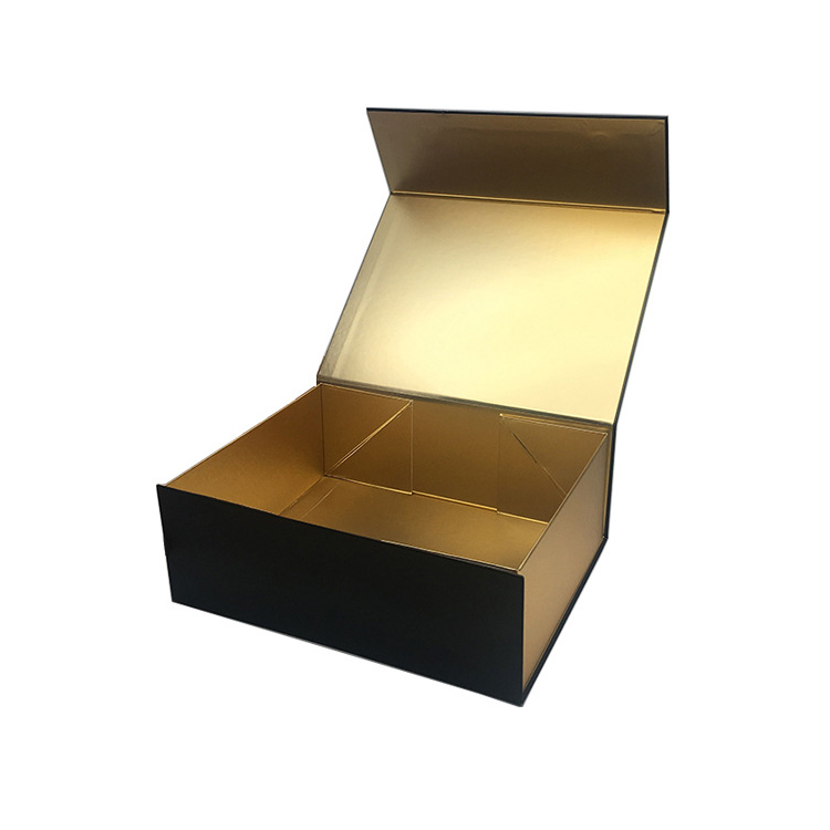 Custom Luxury Black Rigid Cardboard Packaging Foldable Collapsible Gift Box With Magnetic Lid Closure