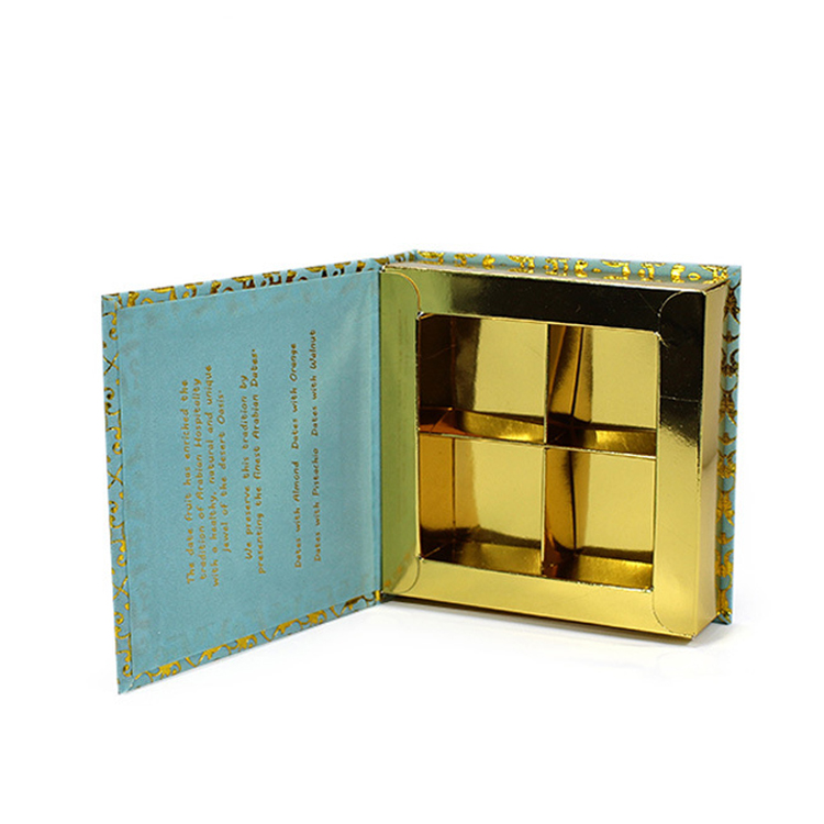 Wholesales Gold Hot Stamping logo Luxury Paper Packaging Gift Box For Chocolate with Cardboard Divider