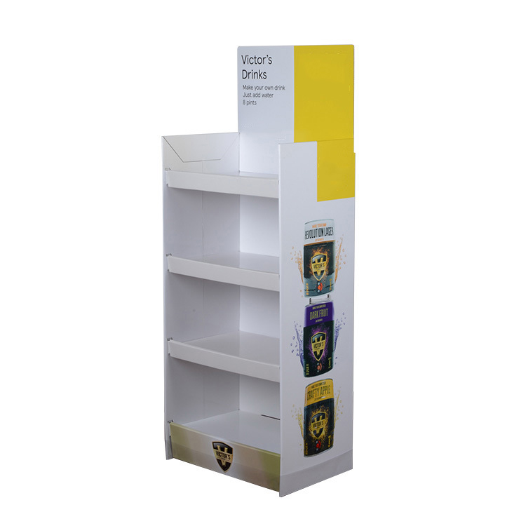 Supermarket Promotion Custom 4 Tier Corrugated Cardboard Paper Floor Display Stand For Beverage