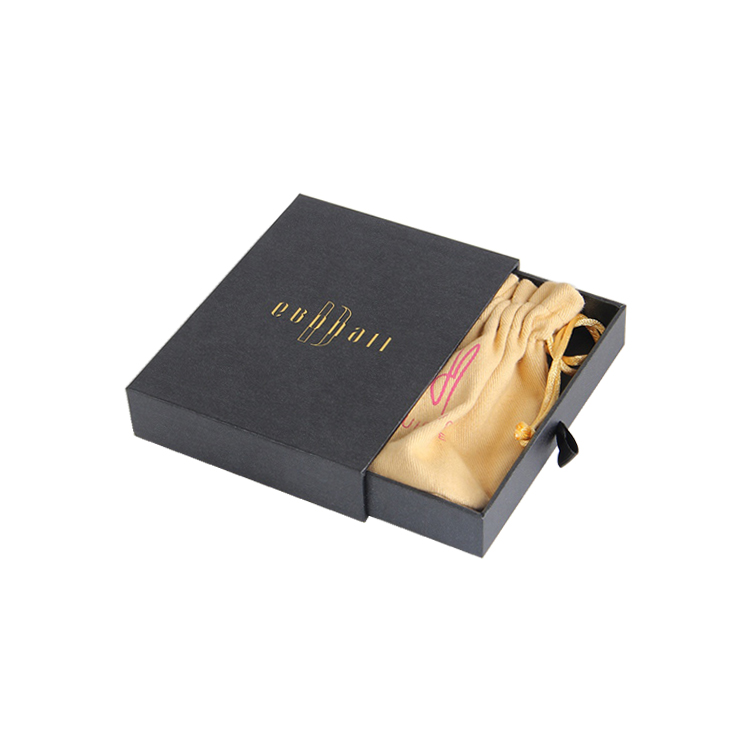 Wholesales Custom Luxury Cardboard Sliding Drawer Gift Box For Jewelry Bracelet With Drawstring Pouch