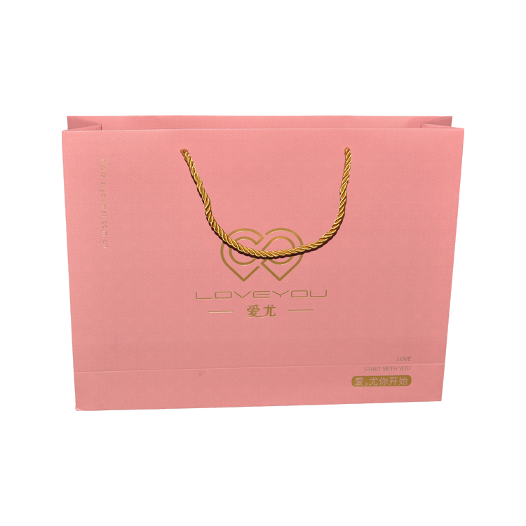 Custom Printed Pink Matte Laminated Retail Shopping Paper Bag With Gold Foiled Log and Rope Handle