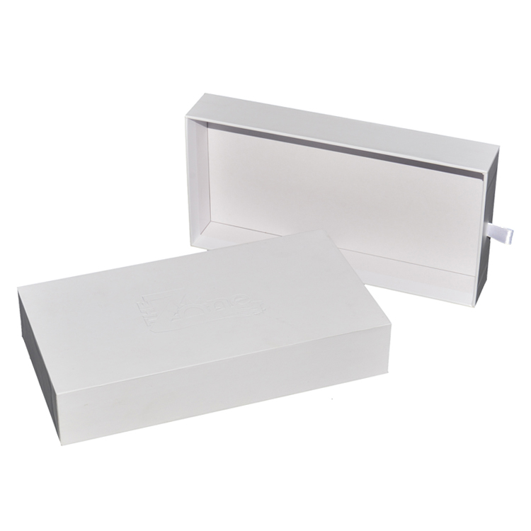 Customized Handmade Luxury Paper Drawer Gift Box for Wallets with Debossed Logo and Silk Handle