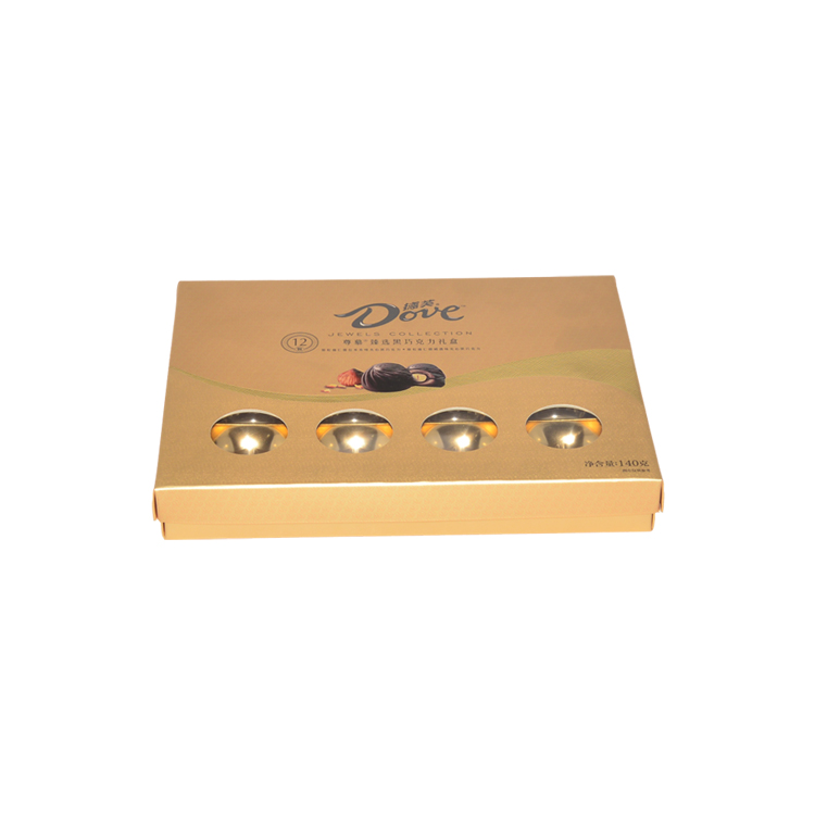 Gold Cardboard Gift Packaging Box for Chocolate Gold Chocolate Paper Box with Gold Plastic Tray and Spot UV logo