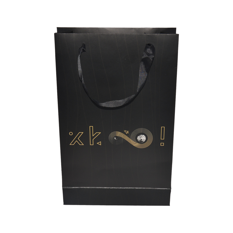 Luxury Matte Black Retail Paper Gift Shopping Bags with Customized Printing and Gold Foiled Logo
