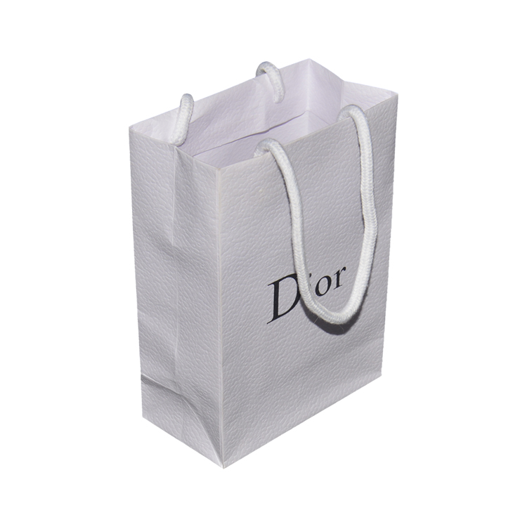 China White Textured Shopping Gift Paper Bag for DIOR with Luxury Handles and Black Hot Foiled Logo