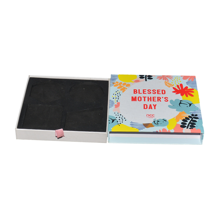 Shenzhen High End Rigid Paper Sliding Drawer Box for Gift Packaging with EVA holder and Silk Ribbon