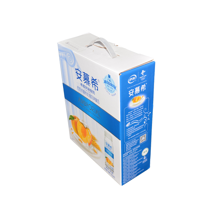 Customized Printing Carton Box Packaging Cardboard Corrugated Boxes with Plastic Handle for Yogurt