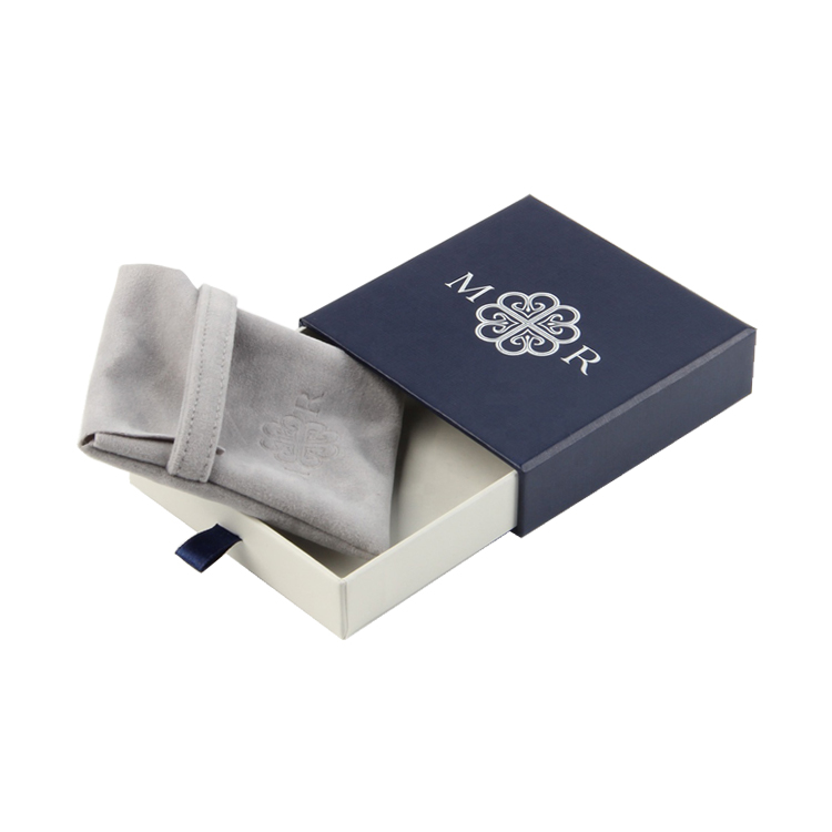 Linen Fancy Paper Drawer Jewelry Packaging Box with Silver Hot Foil Logo and Velvet Pouch