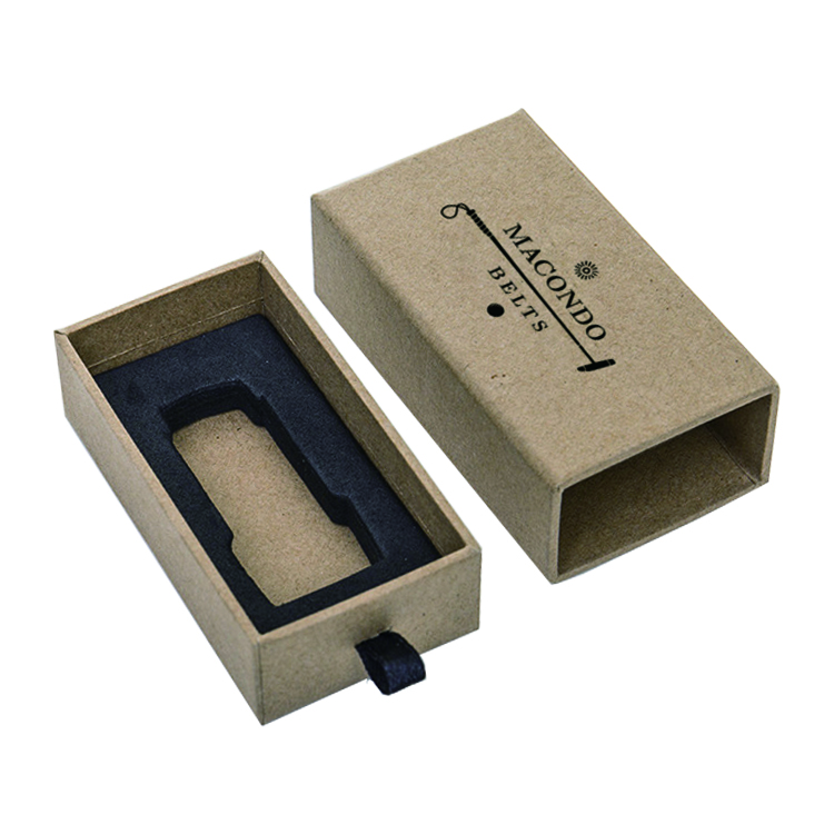 Custom Made Rigid Paper Sliding Kraft Drawer Gift Boxes for Men Belt Buckles with Hot Stamping Logo