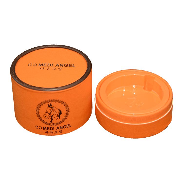 China Custom Logo Printed Cardboard Gift Cosmetics Paper Round Packaging Box with Plastic Holder