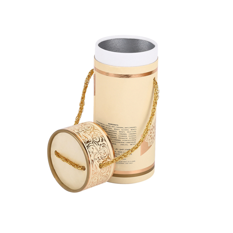High Quality Cylinder Round Packaging Box With Rope Handle for Perfume Bottle Packaging