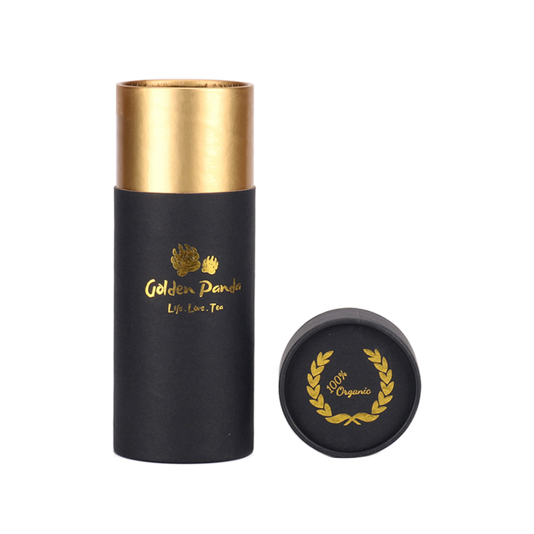 Custom Cardboard Cylinder Box Paper Tubes Packaging for Tea with Gold Hot Foil Stamping Logo