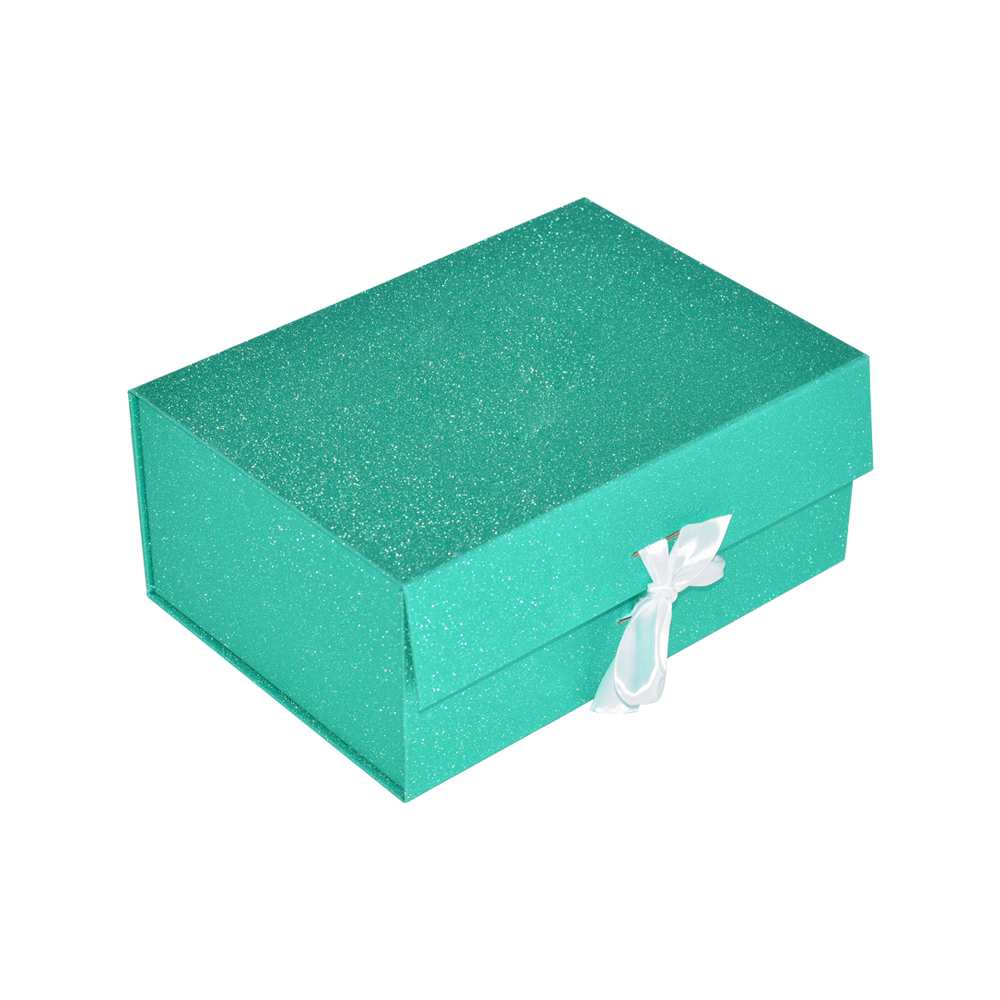 Luxury Customized Pale Blue Paper Foldable Gift Box with Magnetic Closure and Silk Ribbon