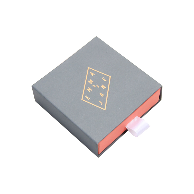 Customized Drawer Cardboard Paper Gift Packaging Box with Silk Ribbon for Jewelry Packaging