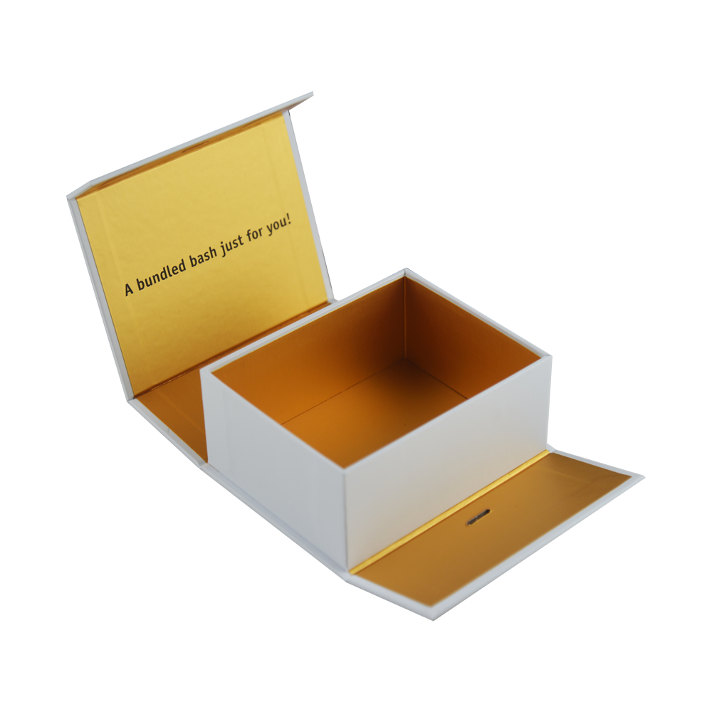Golden Wigs Gift Box Hair Bundles Packaging Box Human Hair Gift Box with Ribbon Closure for Wig Accessories
