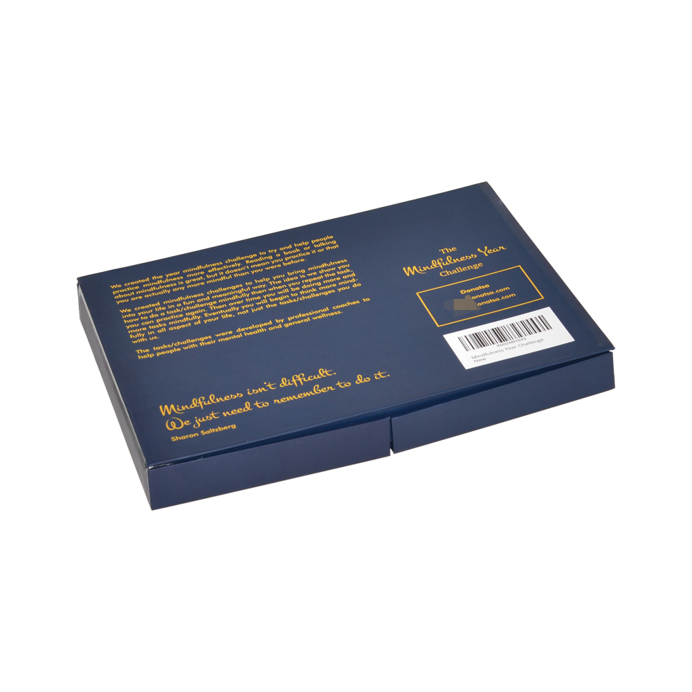 Luxury Packaging Navy Blue Two Double Door Open Gift Box with Magnet and Gold Hot Stamping Patterns
