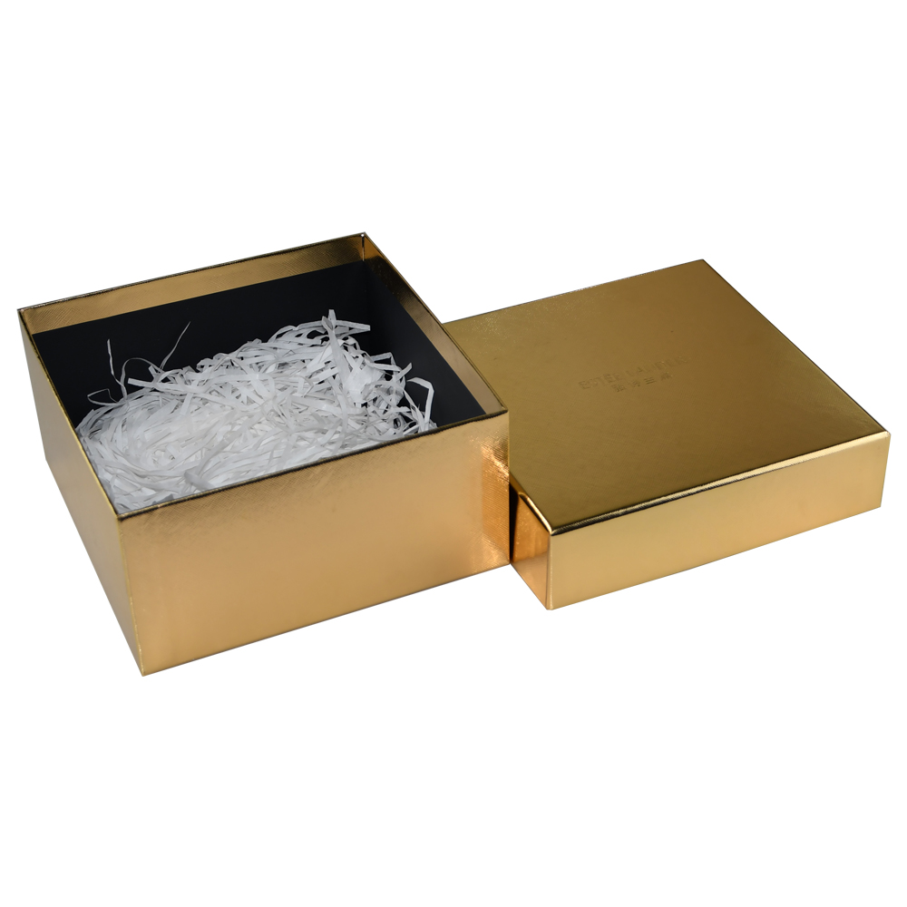 Custom Gold Lid and Base Box, Golden Gift Box for Makeup Packaging with Filling Sherred Paper